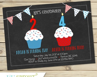 Red White Blue Joint Birthday Invitation - Fourth of July Double Birthday - Independence Day Summer Invite - Boy Girl - Sibling birthday