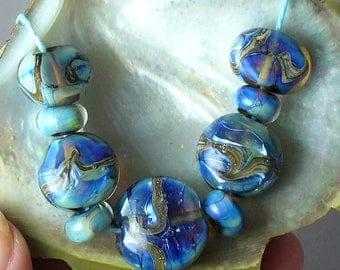 Lampwork beads/sra lampwork/glass beads/artisan lampwork/blue/silver/Double Helix/ silvered ivory/La Jolla Cove/water/