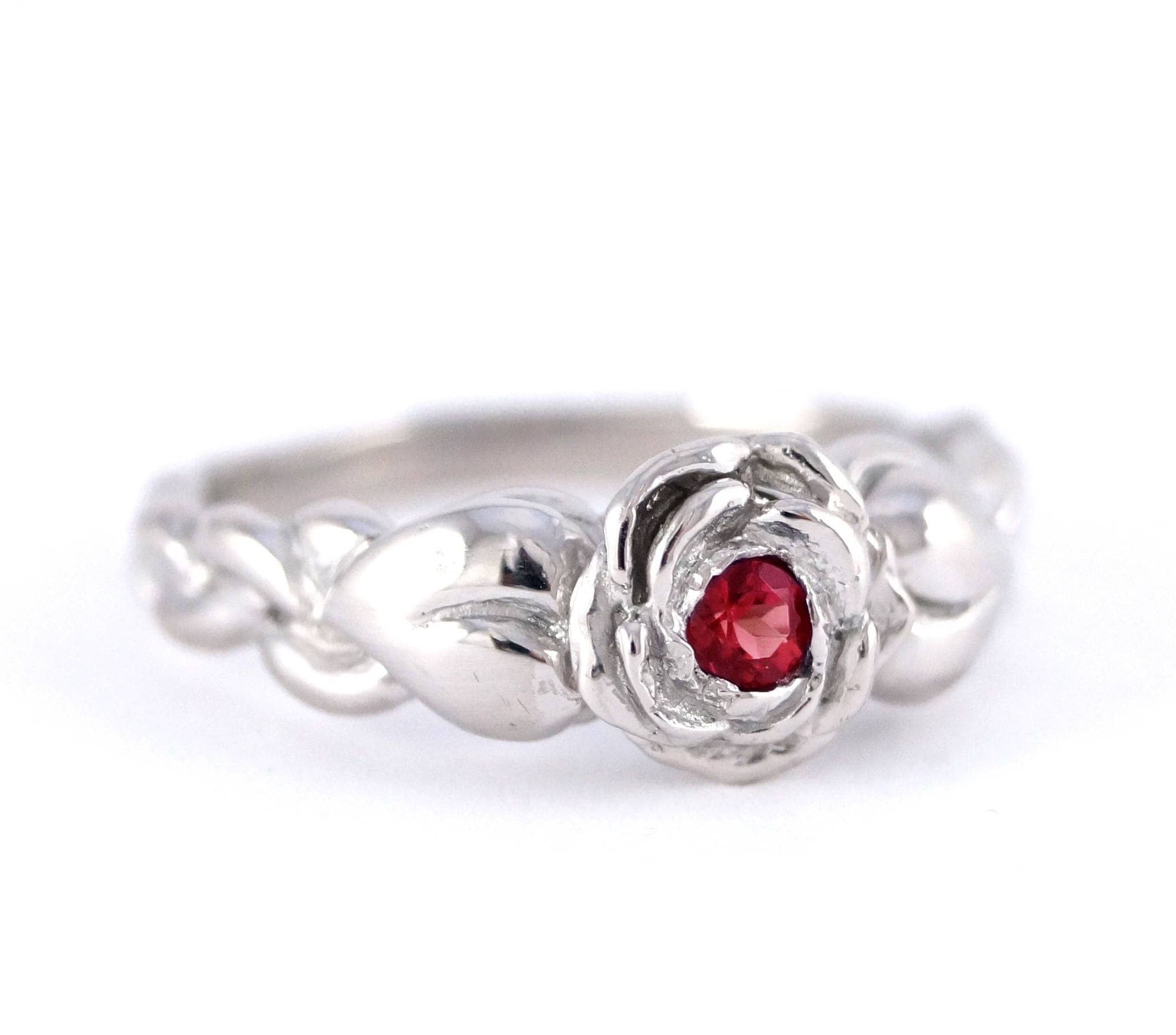 Romantic Silver Rose Ring with Leaves - Beauty and the Beast Belle ...