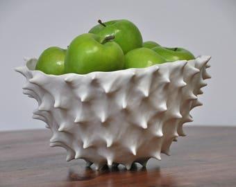 SALE Extra Large Conch Bowl - White Modern Ceramic Bowl Fruit Bowl Large Ceramic Indoor Planter Pot