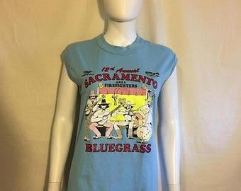 Closing Shop 40%off SALE 70s 80s Sacramento Firefighters BLUEGRASS tank top t shirt   Miller KRAK