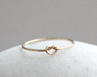 14K Gold Knot Ring, Solid Gold Ring, Love Knot Ring, Valentines Day Gift for Her, Promise Ring, Friendship Ring, Gold Stacking Ring
