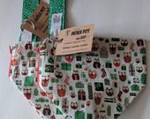 Holiday Owls Moka Pot Micro Zippered Tote. One Skein Zippered Bag. Small Knitting Project Bag.