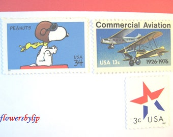 Snoopy Flies the Mail Postage Stamps, Flying Dog - Vintage US Mail Airplanes - Star Stamps, Mail 10 Letters Cards Party Invites 49 cent 1 oz