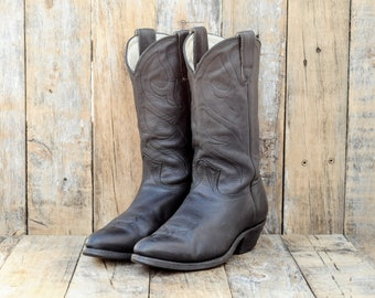 Us 9, Uk 8.5, Eu 42, Black Cowboy Boots, Stewart Boots, Black Leather Boots, Leather Cowboy Boots, Black Western Boots, Leather Western Boot