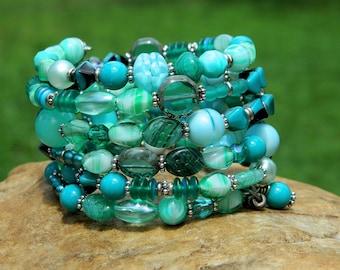 Turquoise Boho Czech Bead Bangle