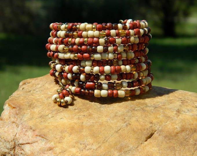 Featured listing image: Fall Indonesian Glass Bead Boho Coil Bangle