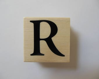 Letter R Stamp - Shades of Sorbet Collection - Wood Mounted Rubber Stamp