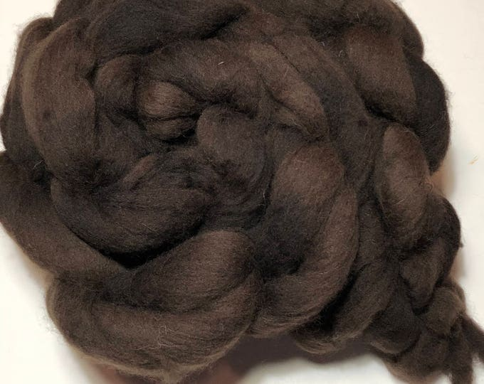 Kettle Dyed Cheviot Wool top. Roving. Spin or felt. Soft and easy to work with. Practically spins itself. Pecan Brown.