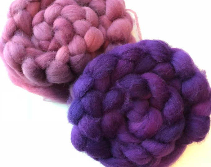 Hand Dyed Cheviot Wool top. Roving.  Spin. Felt. Handspun  Soft and easy to work with. 2 braids  1/2lb. Purple Rain