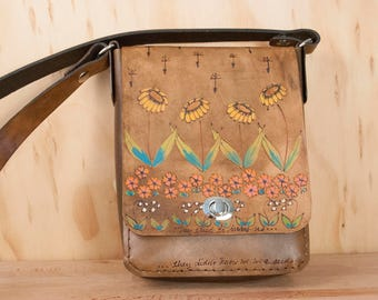 Small Crossbody Leather Purse - Handmade in the Seeds Pattern with Flowers and Dandelion Seeds - Antique Brown with yellow, green and pink
