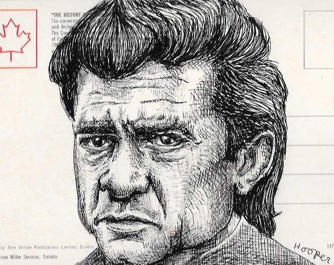Johnny Cash - Original ink drawing on Vintage Post Card by Mr Hooper of Nashville Tennessee