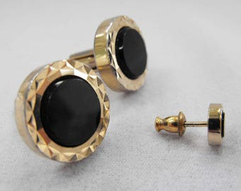 Vintage Cuff Links & Tie Tac, Onyx, Yellow Gold Plated, ca 1960s RO-18