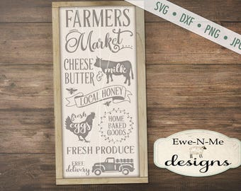Farmers Market SVG - fresh eggs svg - farmhouse svg - old truck svg - produce svg - cow svg - bee svg Commercial Use  svg, dxf, png, jpg