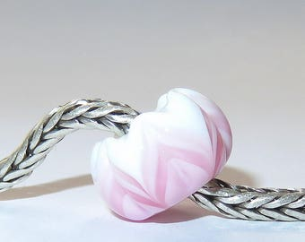 Luccicare Lampwork Bead - Pink Lotus -  Lined with Sterling Silver