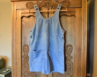 "Sale Bib overall Romper Blue Jeans shorts,Waist 38"" hips 42"" Grunge,worn paint stains,loose thin fun size PS Made by Studio Wear Petite"