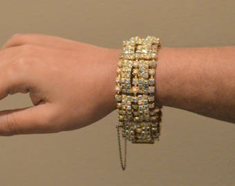 SALE VTG AB Bracelet Rhinestone Bracelet Wide 7 Rows Yellow Citrine,safety clasp ,Quite Elegant Fun and Sparkly