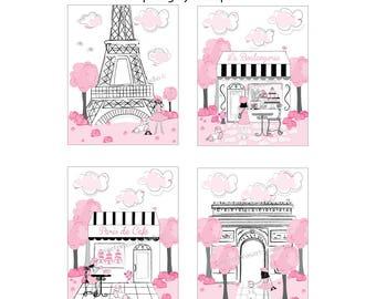 Paris Art, Paris wall art, Paris Bedroom Decor, Eiffel Tower, Paris Girl Prints, Unframed 8 x 10 art, Color Options