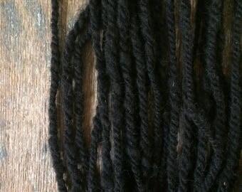 Welsh Mountain wool yarn,  handspun, 21 yards handspun wool yarn, bulky textured yarn, black undyed wool yarn, natural black yarn