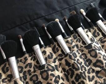 Makeup brush roll, makeup brush holder, Crochet hook organizer , paintbrush roll, leopard print