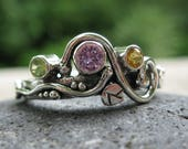 unique multi stone mothers ring . family ring . sterling silver & 3 natural birthstones .( Wild Garden Mother's Ring ). RESVD for Whitney