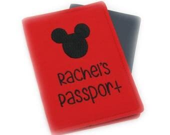 Personalized Red Mickey Mouse Disneyland Embroidered Passport Cover, Monogram Passport, Kids Passport Holder, Passport Wallet, Travel Gift
