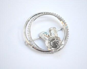 Silver Brooch, TK Brooch, Flower Brooch, Vintage Rose Brooch, Circle Sterling Pin, 1960's Brooch