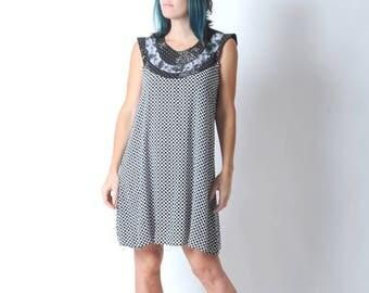 Black and white dress, Flared patterned dress, Supple white and black tent dress, Sleeveless summer dress, Womens dresses, MALAM, size UK 14