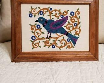 Folk Art bird hand embroidery