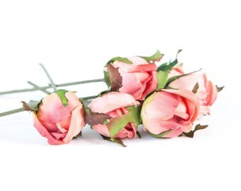6 Vintage Inspired Budded Roses in Two Tone Coral Pink - Silk Artificial Flowers - ITEM 01164