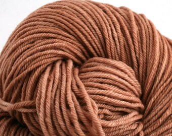 Hand Dyed Aran weight mini Empire Rambouillet Wool 213 yds 4oz Sandstone