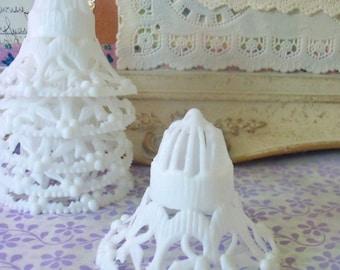 Vintage / Hard Plastic Bells / One Dozen / Brides / White / Retro-Kitsch / DIY Example / Wedding Shower Favors