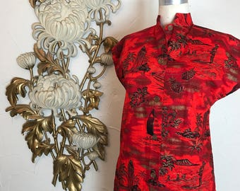 1950s blouse tiki blouse Hawaiian blouse size medium 38 bust red blouse tripical blouse vintage blouse