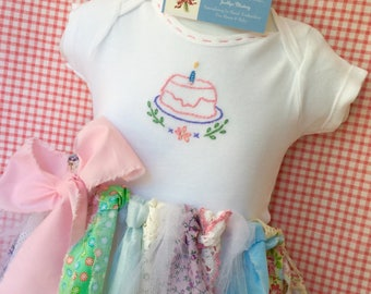 First Birthday Cake Smash - Hand Embroidered Baby Girl Gerber Onesie