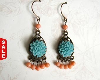 Bohemian jewelry Boho Earrings Orange and Blue Hippie Earrings cottage chic jewelry Chandelier Earrings Gypsy Earrings boho jewelry