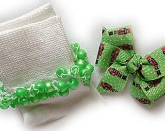 Kathy's Beaded Socks - Little Nutcracker Socks and Hair Bow, girls socks, pearl socks, green socks, school socks, nutcracker socks