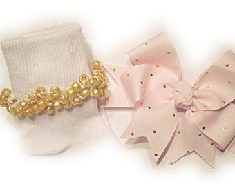 Kathy's Beaded Socks - Light Pink with Gold Dots Socks and Hairbow, holiday socks, pony bead socks, gold socks, pearl socks, holiday socks