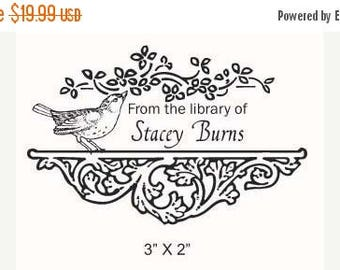 Super Summer Sale Sparrow Shelf and Flourish Custom Ex Libris Rubber Stamp F02