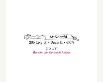 Xmas in July Vintage Airplane Banner Custom Return Address Rubber Stamp AD269
