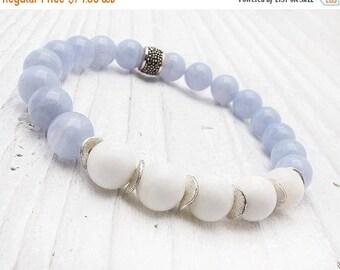blue lace agate bracelet, pastel blue and white bracelet, white jade, sterling silver, stretch bracelet, stacking bracelet, periwinkle