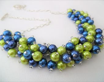 Royal Blue and Lime Green Beaded Necklace, Blue Bridesmaid Jewelry, Cluster Necklace, Chunky Necklace, Bridesmaid Gift, Jewelry Gift For Her