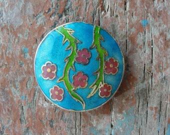 Cloisonne Focal Bead, Floral Turquoise Pendant
