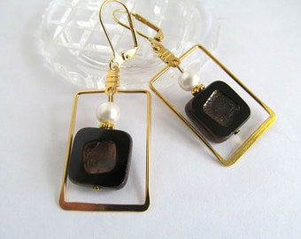 Art Deco Earrings, Gold Earrings, Geometric Earrings, Black Earrings, Avant Garde Earrings, FTD Awareness