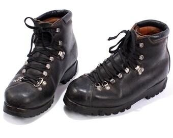 Swiss Army Combat Boots 80s Military Mountain Mountaineering Men Minerva Swiss Alpine Heavy Black Leather size Men Us 8.5, Eur 42, Uk 8