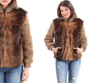 Vintage Fur Jacket 70s FUZZY Vintage Furry Turtleneck Insulated Quilted Knit Wool Sleeves Zip Up Boho Brown Chunky Animal Hipster Medium