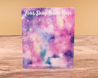 Customize Jewelry Display Cards -  Deep Space Unicorn Pastel Background - Earring Necklace Bows -Packaging  | DS0144