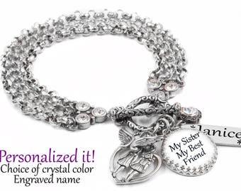 Inspirational Jewelry, Jewelry for Sister, Silver Charm Bracelet, My Sister My Best Friend, Sister Jewelry