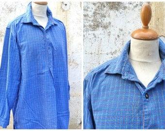 Vintage  1930/1940 French blue check plaid cotton chore shirt/worker timeworn