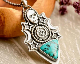 Turquoise Necklace, Silver Skull Jewelry, Boho Style Jewelry, Unique Handmade Jewelry, Turquoise Jewelry, Gothic Style Jewelry,