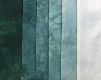 hand dyed Fabric - Teal - 6 pc Fat Quarter Gradation Bundle - Tuscan Rose -780